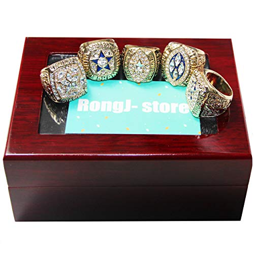 5 Golden Dallas Cowboys Supper Bowl Championship Rings Full Set with a Cherrywood Display Box for Fans Gift (Golden, 13) (Championship Rings Size 13)