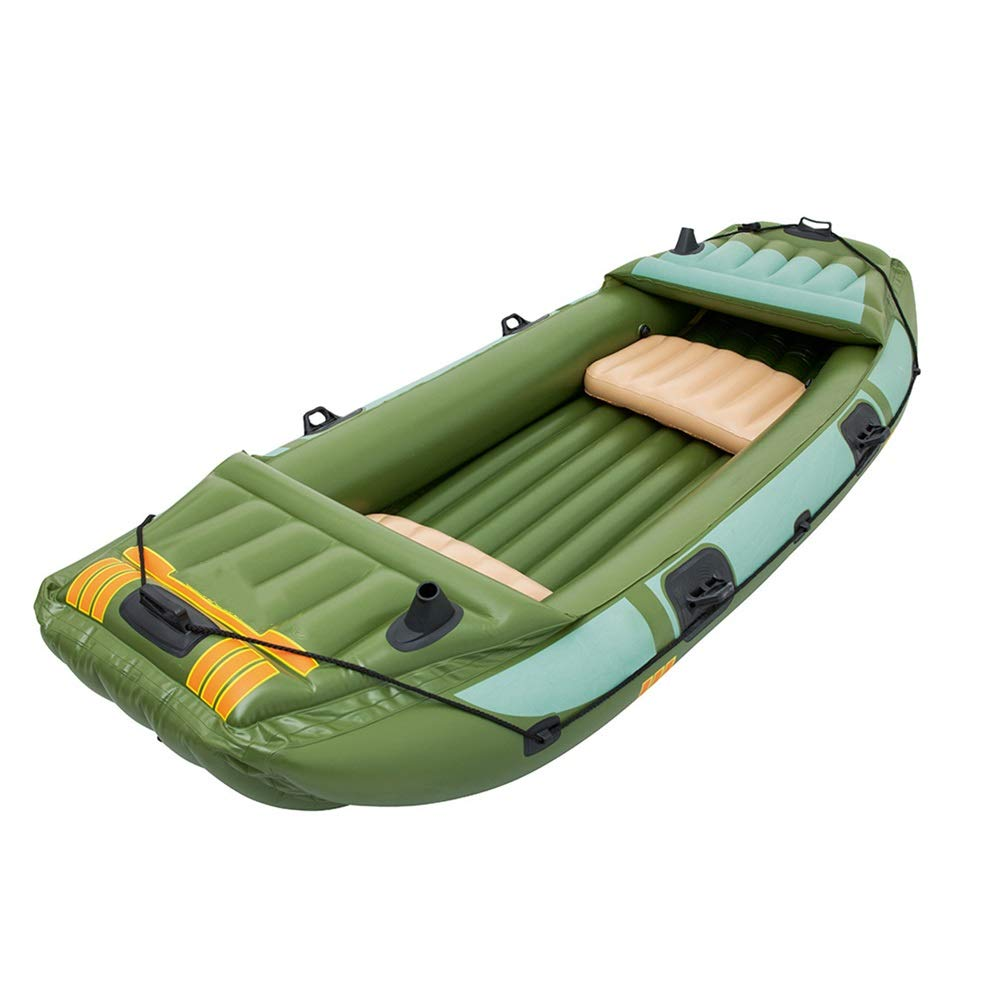 Durability Inflatable Kayaks Durable Three Thick Fishing Boat Inflatable Boat Dinghy Leather Kayak Kayak Hovercraft (Color : Green, Size : 3.16x1.24M) by BoeWan