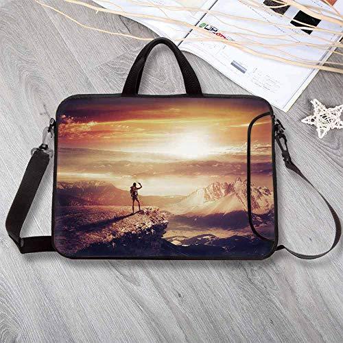 Adventure Anti-Seismic Neoprene Laptop Bag,Traveler Woman with Backpack on Mountain Surveying Sunset Adventure Photo Print Laptop Bag for Travel Office School,14.6