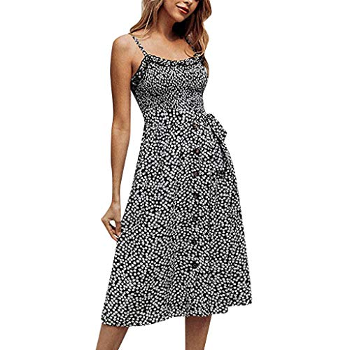 HunYUN Women Sleeveless Adjustable Strappy Casual Print Dresses Summer Beach Casual Button Dress Sleeveless Loose Party Mini Dress A-Line Swing Casual Party Cocktail Dresses