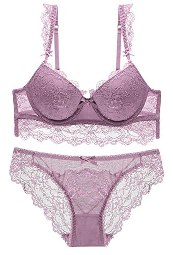 - Matching Bra and Boy Short Set for Women Sexy Lingerie Demi Bra Set with Widen Lace Straps 34B Purple