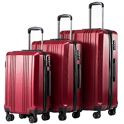 Coolife Luggage Expandable Suitcase 3-Piece Set