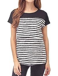 f0f938c63c25f3 Women s Maternity Nursing Tops Striped Breastfeeding T-Shirt