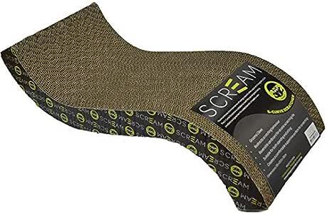 SCREAM S-Curve Cat Scratcher (55x23.5x12cm), 1 Count, Loud Green/Black