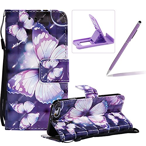 Price comparison product image Strap Leather Case for iPhone 6S Plus, Wallet Flip Case for iPhone 6 Plus, Herzzer Bookstyle Stylish 3D Pretty Purple Butterfly Pattern Magnetic Stand PU Leather Case with Soft TPU