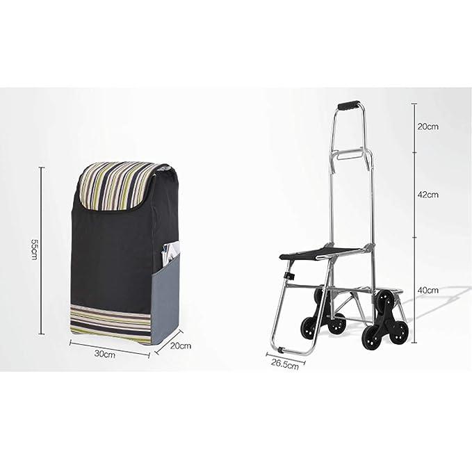 Carretilla plegable de tres ruedas Carro para subir escaleras livianas con bolsa impermeable extraíble para lavandería, supermercado y mercado - Subir y ...