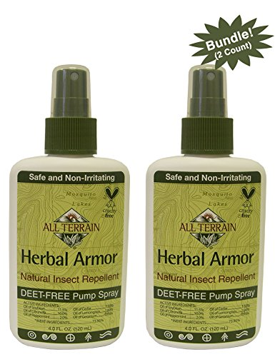 All Terrain Herbal Armor DEET-Free Insect Repellent 4 oz, 2 Count, Bundle, Safe for Kids, Sensitive Skin, Effective Bug Spray Formula with Natural Essential Oils, Great for Camping Outdoor Activities by All Terrain