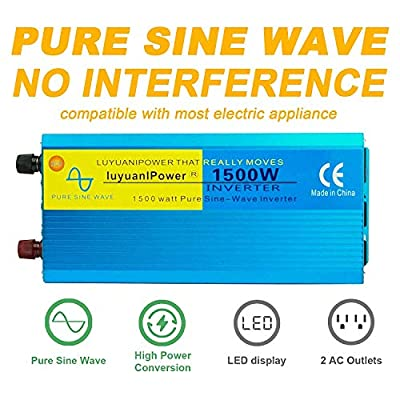 IpowerBingo Pure Sine Wave Power Inverter 1500W/3000W(Peak) 12V DC to 110 V AC with 3 AC Outlets 2 Battery Cables with LCD Display Car Boat Inverter: Automotive