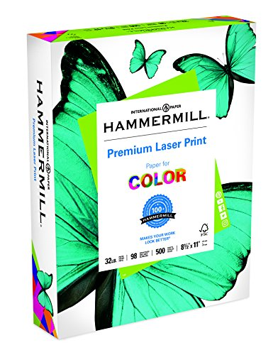 Hammermill Paper, Premium Laser Print Paper, 8.5 x 11 Paper, Letter Size, 32lb Paper, 98 Bright, 1 Ream / 500 Sheets (104646R) Acid Free (Bright White Presentation Paper)