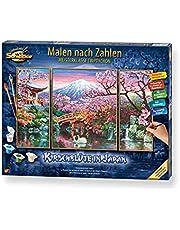 Schipper 609260751 schilderen op nummers, kersenbloesem in Japan - afbeeldingen schilderen voor volwassenen, inclusief penseel en acrylverf, triptychon, 50 x 80 cm