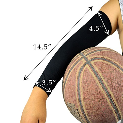 2 Pairs, Child Kids Boys Girls Youth Anti-Slip Arm Sleeves Cover Skin UV Protection Sports Stretch Basketball Running Cycling, Gray, Black by Scorpion (Image #6)