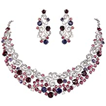 EVER FAITH Bridal Ripple Necklace Earrings Set Austrian Crystal