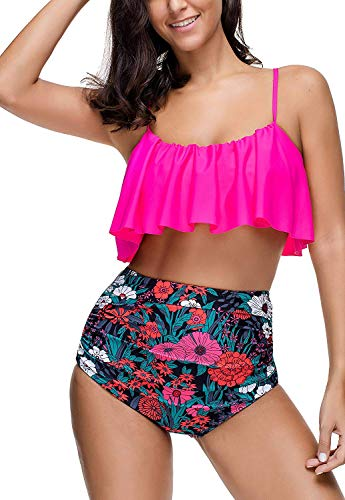 Ring Top Tankini Halter (Memory baby Women's Bathing Swimsuits Halter Off Shoulder Crop Bikini Top with High Waisted Cut Out Bottoms Swimming Sets (Medium, Style-2-Rose Red))