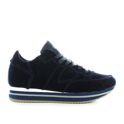 3240a0d5d0 Philippe Model Scarpe da Donna Sneaker Tropez Higher Velluto Blu ...
