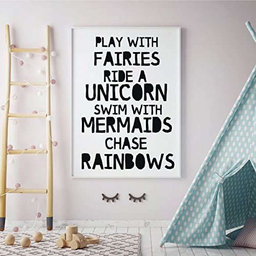 Unicorn Wall Decor - Play With Fairies Ride A Unicorn - Viny