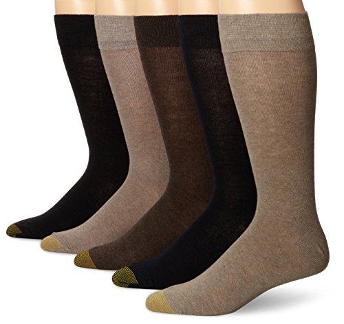 - Gold Toe Men's Flat Knit Crew 5 Pack, Khaki/Dark Grey, Sock Size: 10-13/Shoe Size:9-11