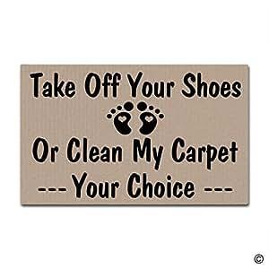 "msmr Felpudo entrada Felpudo Take Off tu zapatos o limpiar mi entrada alfombra antideslizante Felpudo Máquina lavable tela no tejida Top 18""x30"""