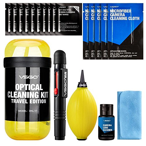 VSGO DKL-17 UES DSL Camera Lens Cleaning Kits: Lens Cleaner, Lens Pen, Microfiber Cloth, Air Blower, Wet Wipe, Suede Screen Cleaning Cloth and Waterproof Bottle Container, Yellow