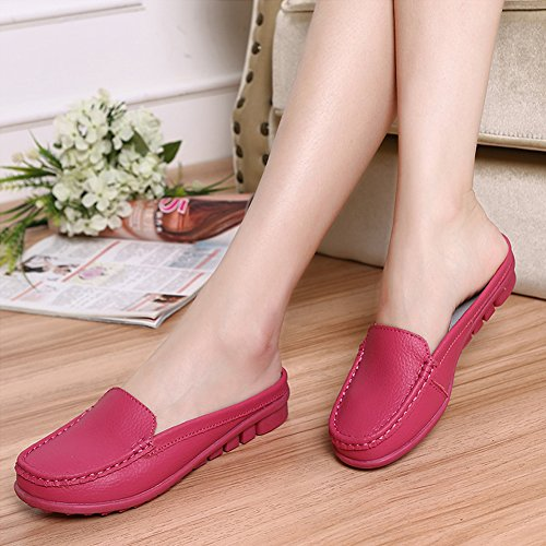 SCIEU Women's Casual Leather Loafers Driving Moccasins Slip-On Boat Shoes Flats Slippers Rose Red GSFk3q
