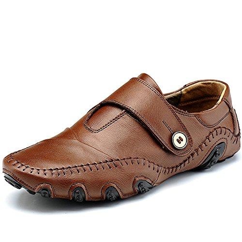 Advogue Herren Flache Fahren Halbschuhe Fashion Freizeit Loafers Schuhe Weich Leder Wohnungen Mokassin Braun
