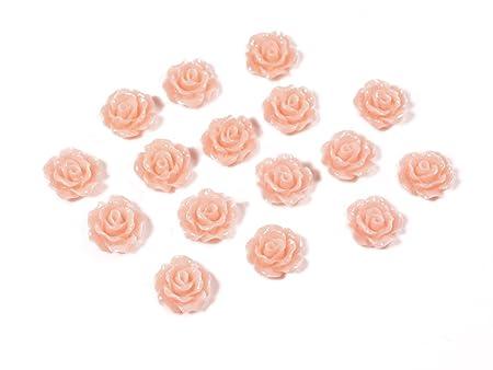 Resinperlen als Rosen in apricot 10 Stück von Vintageparts DIY Schmuck