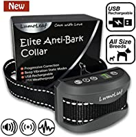 Elite Anti Bark Dog Collar with Static Vibration Correction, USB Rechargeable with 4 Training Modes for All Breeds and Sizes, Trainer Recommended Dog Bark Control Device