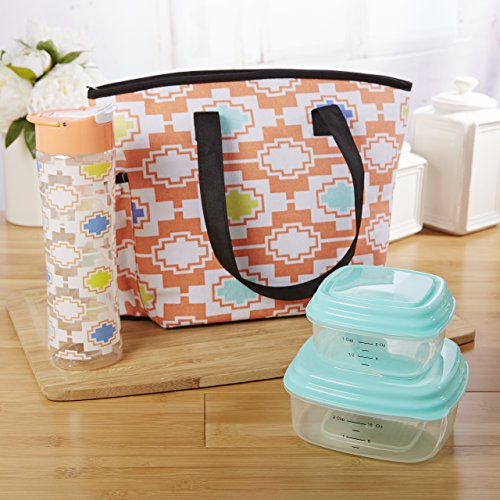 Fit & Fresh Huntsville Lunch Bag Kit for Women, Includes Container Set and Matching 20 oz. Tritan Plastic Water Bottle, Salmon Playa Geo