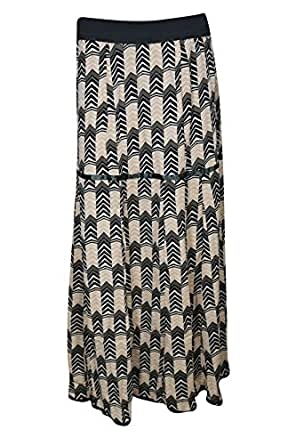 Womens Maxi Skirts Printed Boho Hippie Gypsy Beach Long Flared Skirt Small/Medium (Peach)