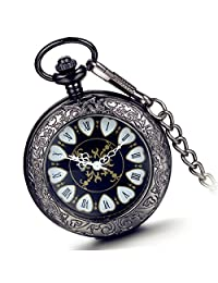 Lancardo Vintage Carving Pattern 2 Side Transparent Case Fob Pocket Watch With Chain (Black )