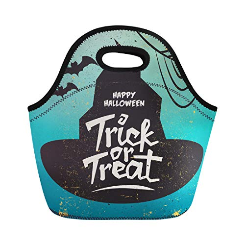 Semtomn Neoprene Lunch Tote Bag Abstract Retro Vintage Halloween Effect Trick Treat Autumn Cat Reusable Cooler Bags Insulated Thermal Picnic Handbag for Travel,School,Outdoors,Work -