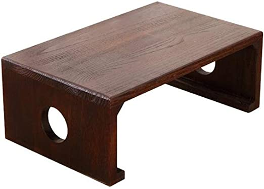 Amazon Com Amelie Ai Solid Wood Bay Window Small Square Table Japanese Style Simple Coffee Table Balcony Low Table Retro Brown Height 11 8 Size L70xw45xh30cm Furniture Decor