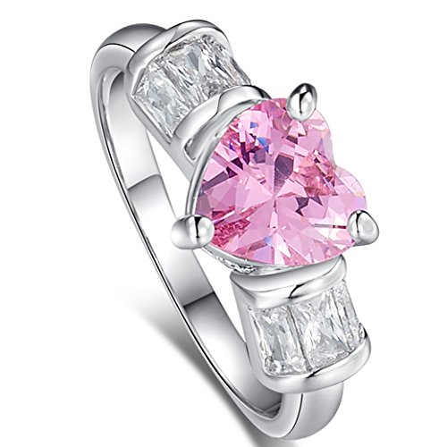 d0e1df016521 Narica Womens Brilliant 8mmx8mm Heart Shaped Pink Topaz CZ Engagement Ring