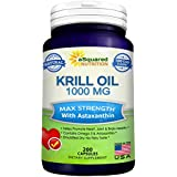 Pure Krill Oil 1000mg w/ Astaxanthin & Omega 3 xl (200 Capsule Supplements) Antarctic Sourced Rich in DHA & EPA & Phospholipids, Compare to Omega 3 6 9 Fish Oil Fatty Acids, 100% Purified No Mercury