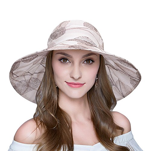 AOMUU Womens Summer Sun Hat UV Protection Packable Floppy Wi