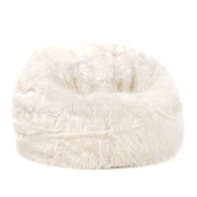 icon Large Childrens Classic Faux Fur Bean Bags - Cream a5c5cffb25d1d