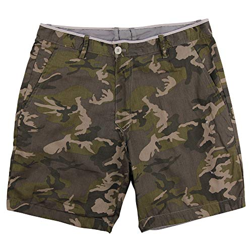 Islandia Men's 100% Cotton Flat Front Reversible Fashion Shorts (Army Camo, - Reversible Shorts Cotton