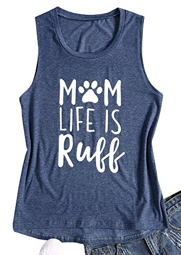 Womens Mom Life is Ruff Tank Letter Graphic Print Sleeveless Casual Tops