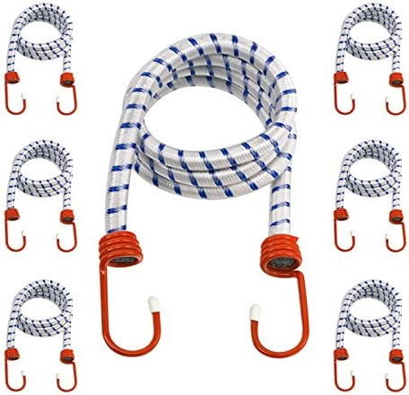 Coated Steel Hooks 6-Pack Heavy Duty 48 Bungee Cords 1//2-Inch Diameter Cord