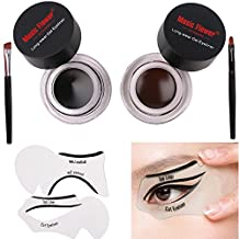 Lover Bar Waterproof 2 in 1 Gel Eyeliner Set Brown and Black-Beauty Cosmetics Make Up Long-lasting Shadow Gel Cream Eye Liners with Makeup Eyebrow Brush Kit + Cat Shaping Eye Liner Stencils (2 in 1) by Lover Bar