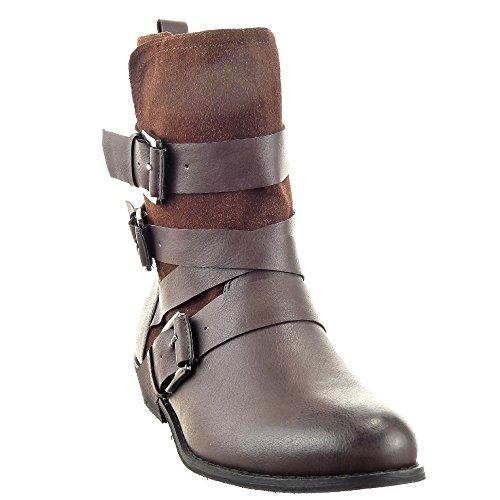 Sopily - Scarpe da Moda Stivaletti - Scarponcini Cavalier donna fibbia multi-briglia Tacco a blocco 3 CM - Marrone