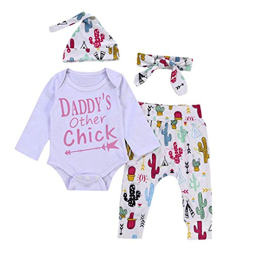 Jarsh 4PCs Infant Toddler Kids Baby Girl Daddy's Other Chick Letter Printed Long Sleeve Romper (White, 6M(3-6Month)) (New Chick)
