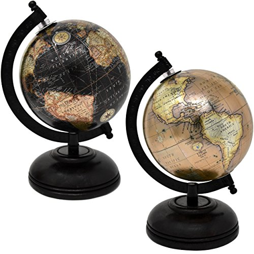 2 Decorative Glossy World Globes With Wooden Stand For Home Décor And Office Desktop 5 Inch Diameter By Gift Boutique