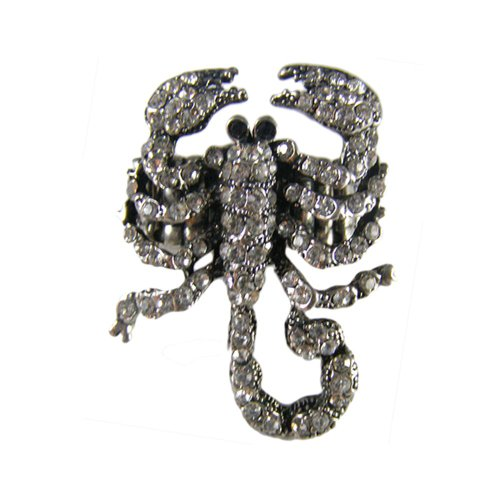 [Twinkle Crystal Metal Ring - Scorpion (White)] (Homemade Gothic Costumes For Women)