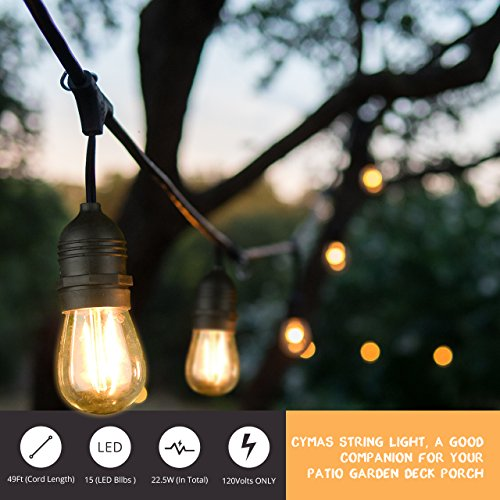 Dimmable Outdoor Patio Lights: Mpow LED Outdoor String Lights, 49Ft Commercial Grade