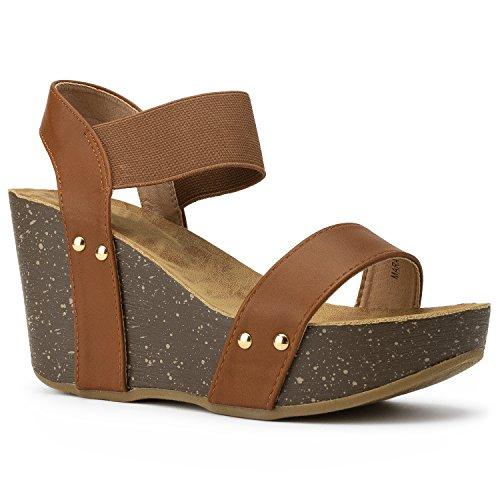 RF ROOM OF FASHION Women's Ankle Strap Comfort Platform Cork Wedge | High Heel Slingback Sandals | Elastic Band TAN (7) ()