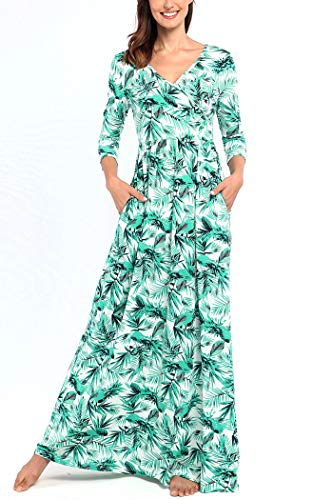 Comila Ladies Long Patterned Maxi Dress, Women Classic Flower Print Cocktail Compliments Spring Summer Fall Months 3/4 Sleeve Cross Wrap Dress Side Pocket Green White M US(8/10)