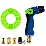 Roscloud@ Watering Hose   Car High Pressure Car Wash Gun Energy Saving Switch TPR Plastic Strong Impulse High Traffic Durable Style (Color : Blue, Size : With 15M hose)