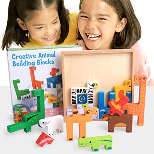 FINERINE Educational Wooden Cartoon Animal Board 3D Building Block Puzzle Child Baby Toys (Gloss Pouch Foam Boards)