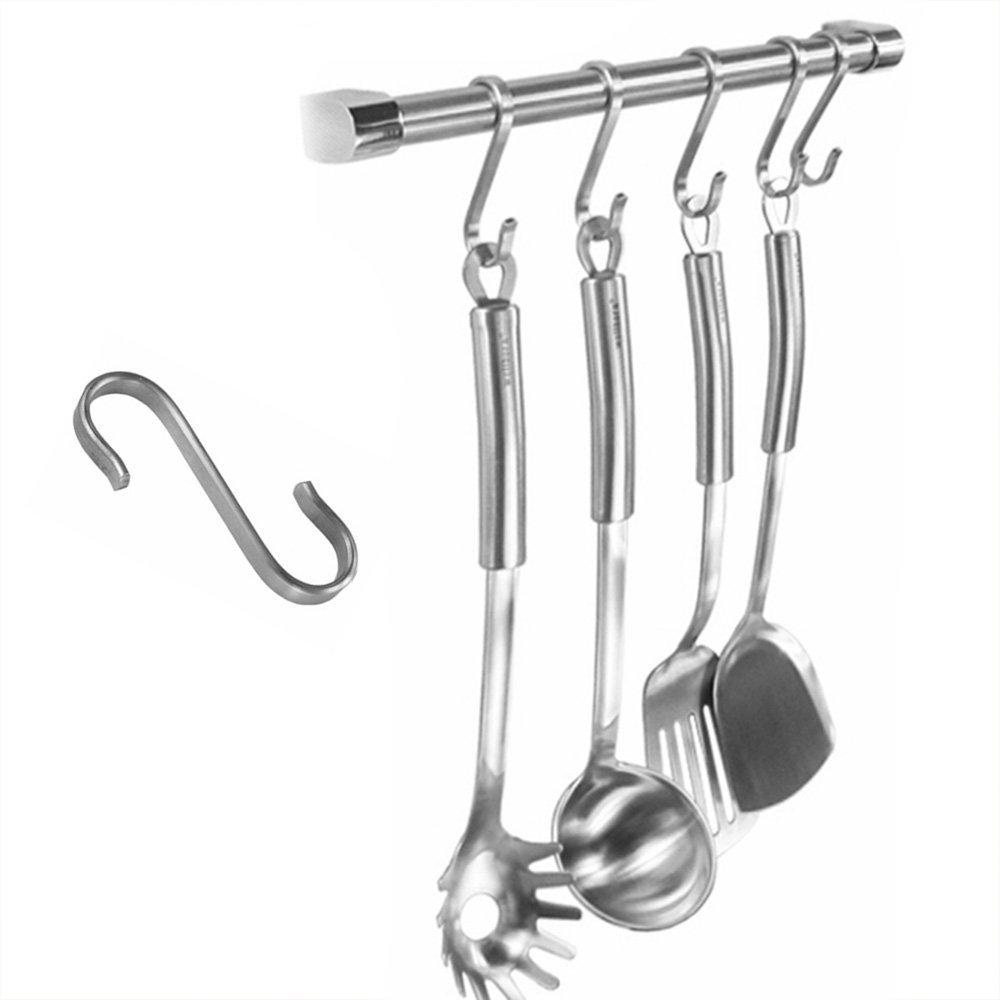 10//100 Pcs Heavy Duty Stainless Steel S Shaped Hooks Kitchen Spoon Pan Hangers