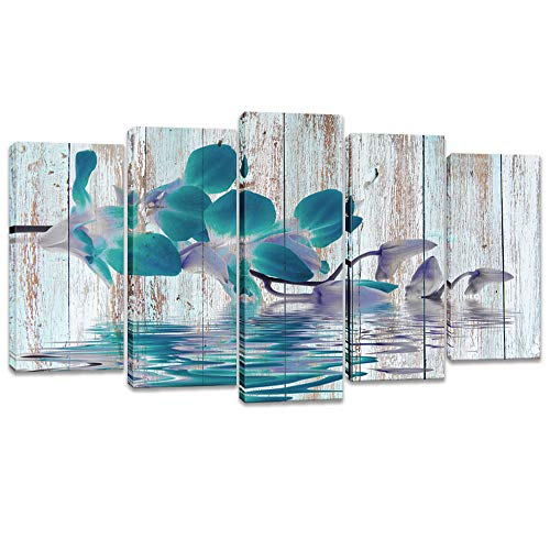 (Visual Art Decor Rustic Flowers Wall Art Teal Orchid with Fancy Reflection Floral Zen Canvas Prints Gallery Wrap Decoration Contemporary Art for Home Living Room (W-60 xH-32))